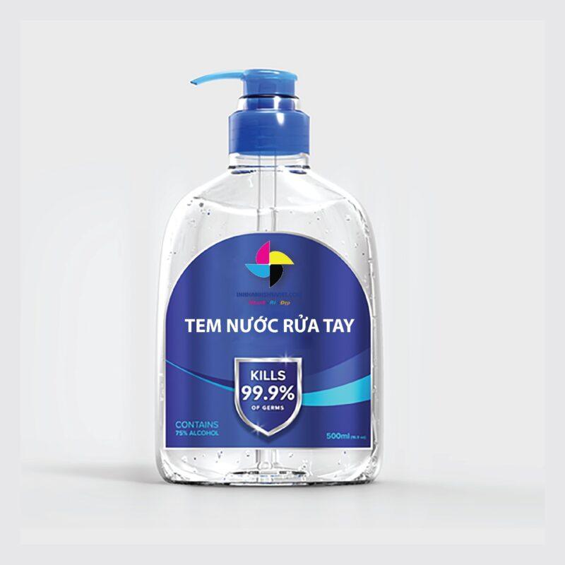 in tem nước rửa tay
